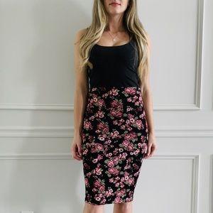 {Silhouette NYC} Floral Bodycon Midi Skirt